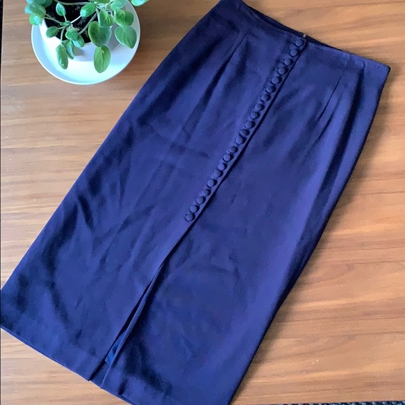 Vintage Button Front Navy Blue Classic Midi Skirt
